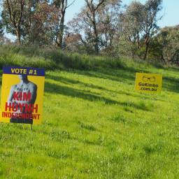 Kim Huynh was the clear winner for best use of a sign. But only election night will tell if this converted into votes.